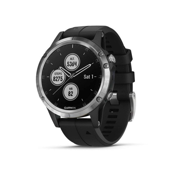 Garmin fénix 5 plus plata con correa negra 47mm smartwatch premium multideporte gps integrado wifi bluetooth