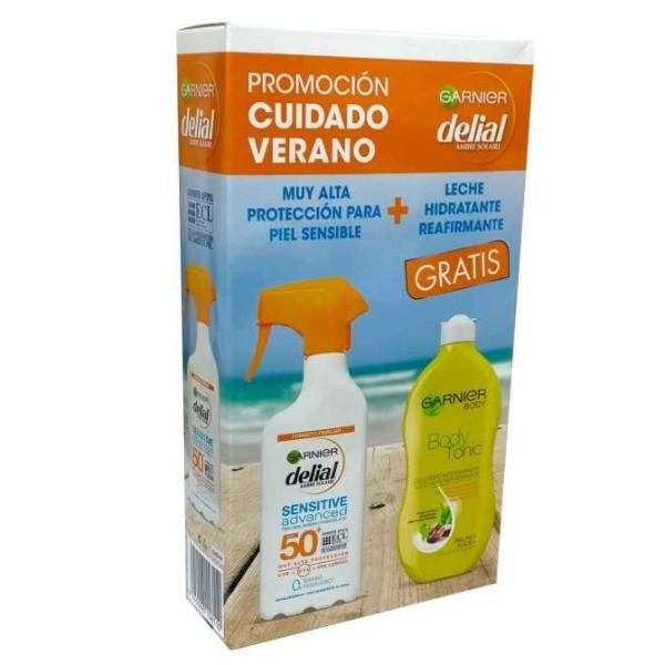 Delial Protector Solar Piel Sensible spray 300 ml + Leche Hidratante Reafirmante 400 ml