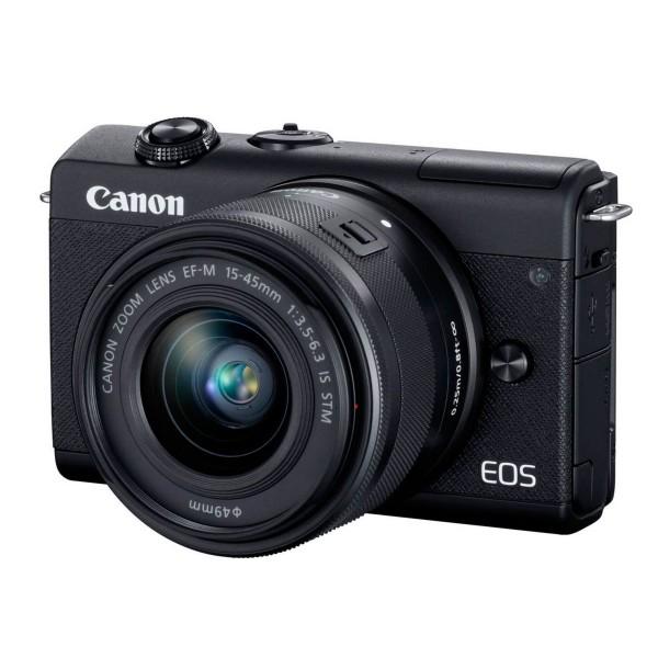 Canon eos m200 negra/cámara compacta 24.1mp + vídeo 4k/wi-fi/bluetooth/objetivo m15-45s